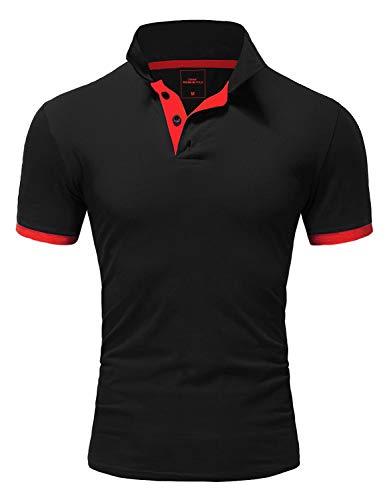 Amaci&Sons Herren Poloshirt Basic Kontrast Kragen Kurzarm Polohemd T-Shirt 5104