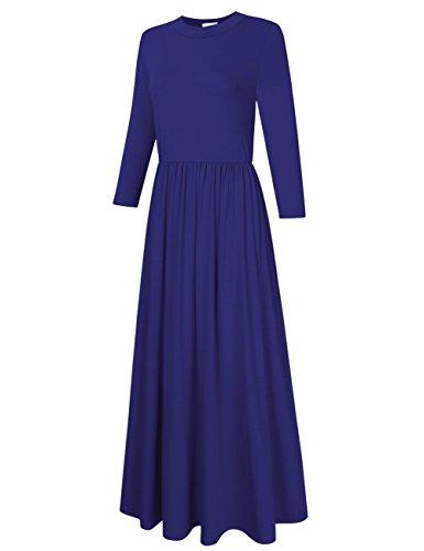 Torche Femme Manches 3/4 Clearlove Midi Maxi Balançoire Longue Robe Avec Des Poches Plus La Taille (m-xxxl) Bleu