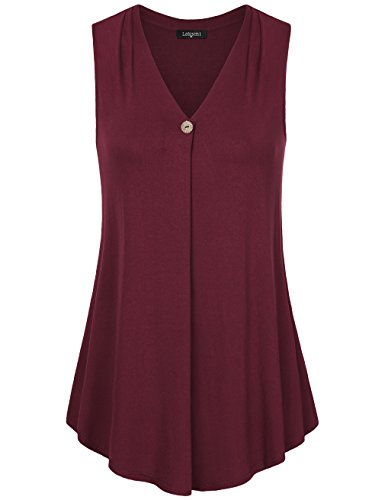 Laksmi Womens Solid Color Basic V Neck Sleeveless Casual Office Tank Blouse Top M Wine