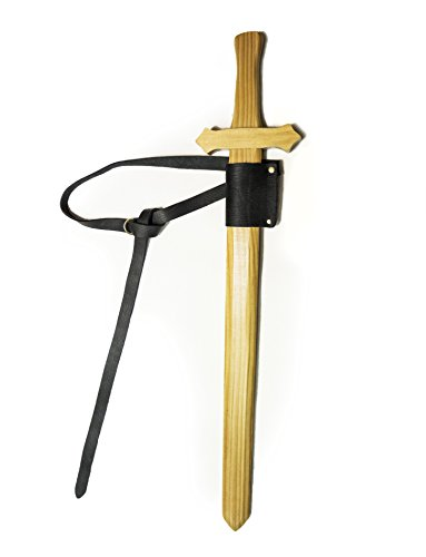 Volcan Mountain Forge Sturdy Wooden Short Sword With Real Leather Belt (Wood Scabbard Swords)