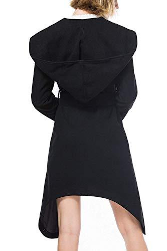 Manches Manteau Veste Loisir Couleur Young Asymmetric Fashion Styles Irregular Revers Automne Elgante Jacken Unie Longues Longues Capuche Femme Noir Outerwear Hiver A aPrTqPYSw