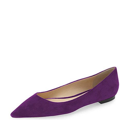 YDN Women Classic Pointy Toe Flats Suede Casual Shoes Low Cut Slip on Soft Purple discount official site 3Ok5IHKwX