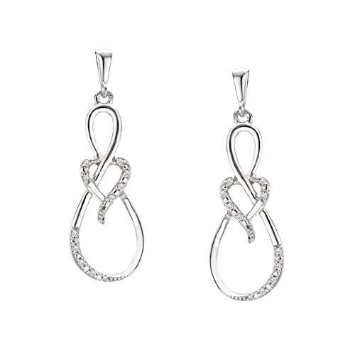 - Sterling SIlver City of Hope Diamond Infinity Heart Drop Earrings - 1/8CTW