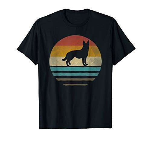 Retro Vintage Sunset German Shepherd Dog Breed Silhouette T-Shirt