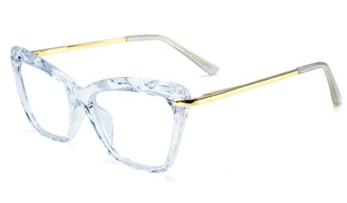 FEISEDY Cat Eye Glasses Frame Crystal Non Prescription Eyewear Women B2440 (Blue, 52) ()