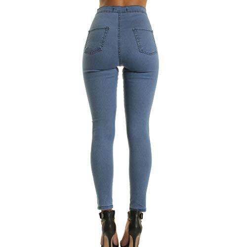 Jeans Sottili Matita Strappati A Moda Vintage Pantaloni Buco Alla 2xl Blu Denim Skinny Donna Scuro Alta Per Vita M rrv7Fq