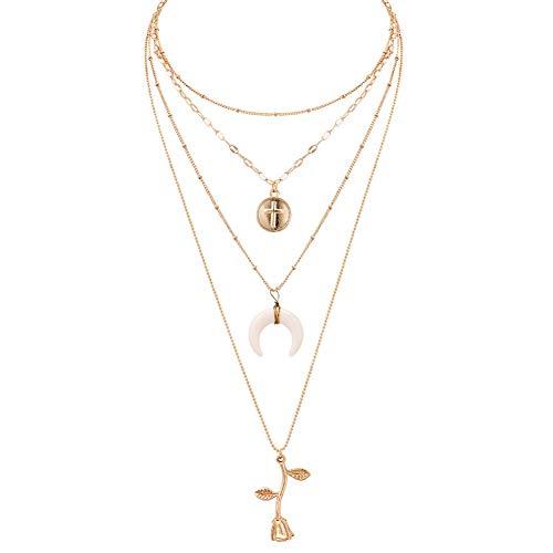 (GAJSDJHN Necklace Jewelry Fashion Jewelry Moon Cross Rose Pendant Cascading Necklace Woman's Gift Statement Necklace)