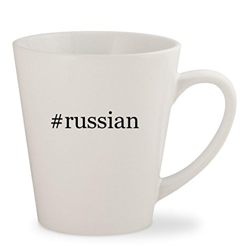 #russian - White Hashtag 12oz Ceramic Latte Mug Cup (Watch Terrier Keychain)