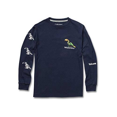 Volcom Big Boys Bad Bird Long Sleeve Basic Fit Tee, Navy Extra Large