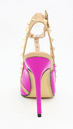 Studded Women's Pointed SexyPrey Ankle Fuchsia Plus Gladiator Size Heels Sandals Shoes Court Strap Toe High wXxqHdxr