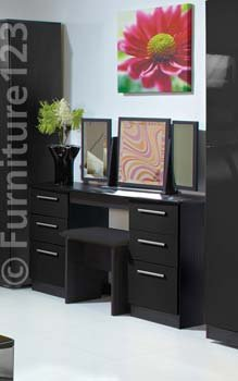 Hatherley High Gloss Large Dressing Table In Black Color Black - Black gloss dressing table