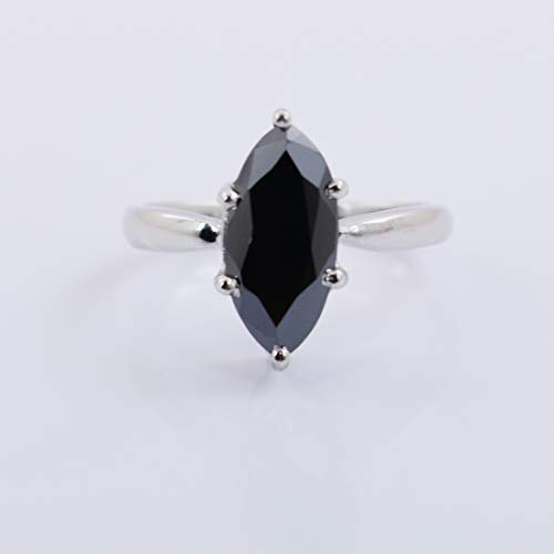 skyjewels 2Cts Marquise Cut Black Diamond Solitaire Ring in White Gold Best Proposal Ring ()