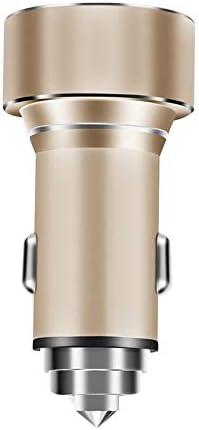 車の充電器 USB多機能車の充電器デュアルポートUSB電話車の充電器の互換性スマートフォン 安全安心の車載充電器 (Color : Gold, Size : As shown)