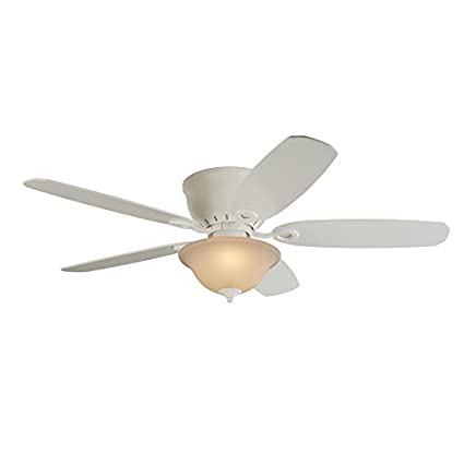 Harbor Breeze Pawtucket 52 In White Indoor Flush Mount Ceiling Fan With  Light Kit And