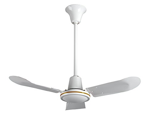 VES 36'' Commercial Ceiling Fan and Control, Forward/reverse, 18'' Downrod, 120V, White by E.S.V.
