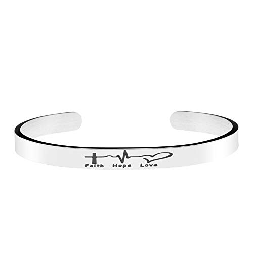 - Joycuff Bracelet for Women Faith Hope Love Birthday Gifts for Her Electrocardiogram Silver Cuff Bangle