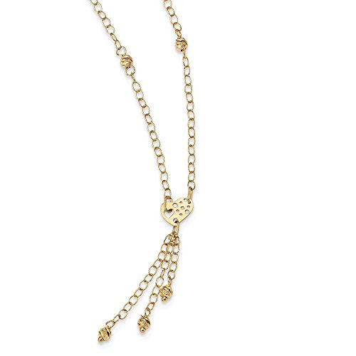 Roy Rose Jewelry 14K Yellow Gold Diamond-cut Heart with Dangle Necklace ~ length: 18 inches