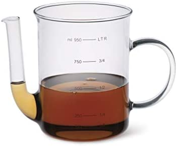 Simax Glassware Glass Fat Separator | 4 Cup Capacity – Borosilicate Glass is Safe for Hot Liquids – For Gravies, Stocks, and Broth – Dishwasher Safe – Made in Europe – Measuring Cup Fat Skimmer Separa