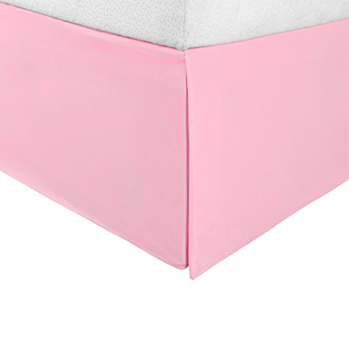 "Superior Infinity Luxury Soft 100% Brushed Microfiber Tailored Bed Skirt with 15"" Drop, Wrinkle Resistant with Pleats and Split Corners - Queen Bedskirt, Pink (Valance Bed)"