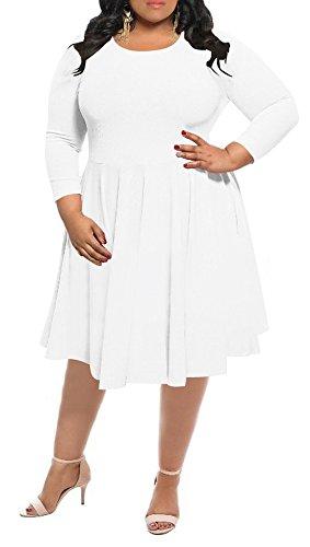 Delcoce Flare A-Line Plus Size Dresses For Women Simple Plain High Waist Dress White 3XL (Plus Women Size Dresses)