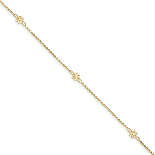 - 14k Yellow Gold Flowers 1 Inch Adjustable Chain Plus Size Extender Anklet Ankle Beach Bracelet Floral/leaf Fine Jewelry Gifts For Women For Her