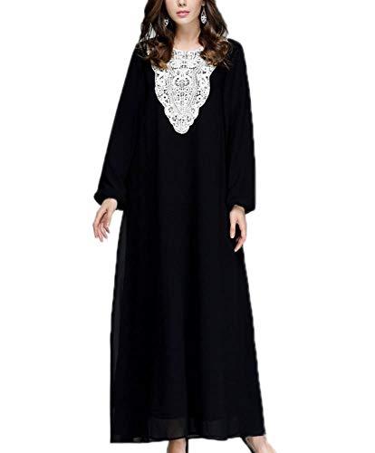 Keephen Vestido Nacional musulmán Manga Larga Cómodo Negro