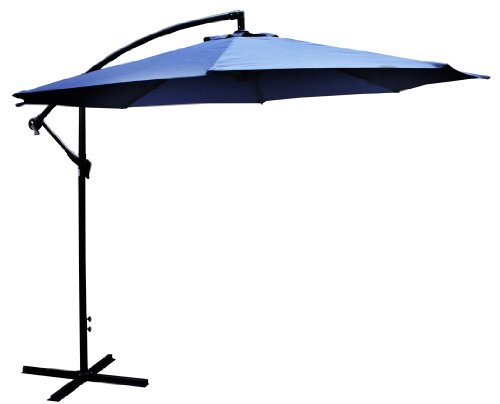 Bonnevie 10′ Offset Umbrella, Navy Blue – Requires Patio Blocks for Support Review