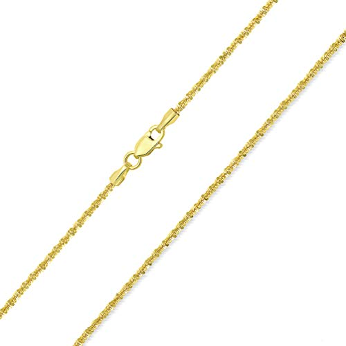 Solid 14k Yellow Gold 1.5mm D/C Sparkle Rock Chain Necklace with Lobster Claw Clasp, - Rope D/c Chain