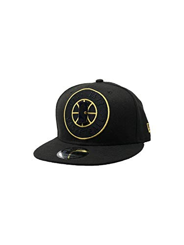 New Era Utah Jazz Adjustable Snapback Hat 9Fifty NBA Basketball Straight Brim Baseball Cap (One Size, Black Playoff Metallic Gold)