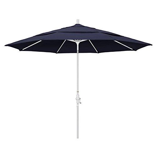 California Umbrella 11' Round Aluminum Market Umbrella, Crank Lift, Collar Tilt, White Pole, Sunbrella Navy