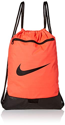 Nike Brasilia Training Gymsack, Drawstring Backpack with Zipper Pocket and Reinforced Bottom, Bright Crimson/Bright Crimson