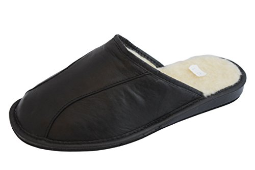 Hombre De Zapatillas Mules Slippers Calf Natural Leather Casa Estar Para Wool Negro Por Piel Natleat Sheep's xqU1wB16