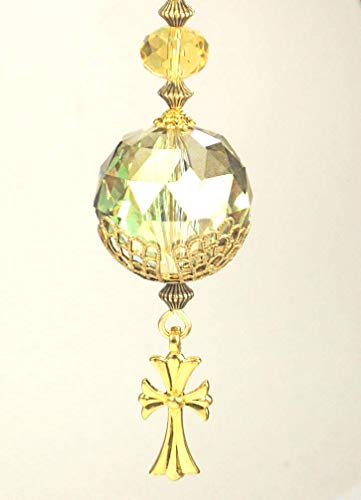 - Beautiful Amber Glass and Gold Cross Rear View Mirror Ornament