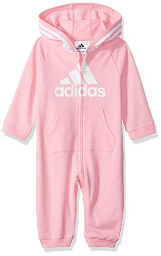 adidas Baby Girls Coverall, Light Pink ap, 12 Months