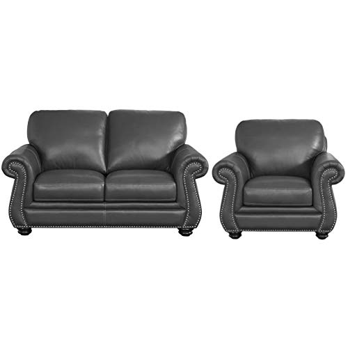 Abbyson Living 2 Piece Leather Loveseat and Accent Chair Set in Gray