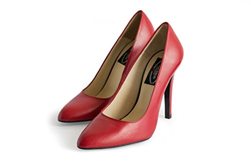Zapato Piel Estilo Salón Tacón Intenso de Rojo Color Lipstick Granade NOGUERON de Stiletto Aguja qC8wH4