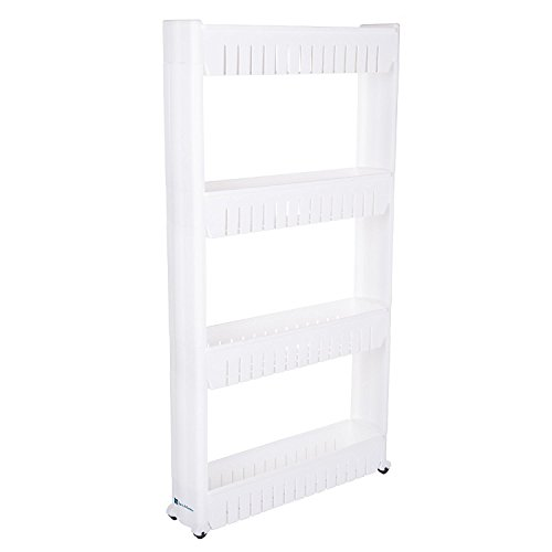 windaze Mobile Shelving with 4 Large Storage Baskets, Slim Slide Out Pantry on Rollers for Narrow Space