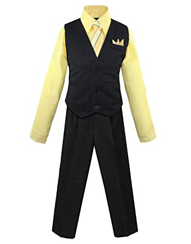 Luca Gabriel Toddler Boys' 4 Piece Pinstripe Vest Shirt Tie Pant and Hanky Set Banana - 14 (Ties Pinstripe Suits)