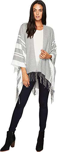 (Hat Attack Women's Stripe Poncho Charcoal/Ivory One Size)