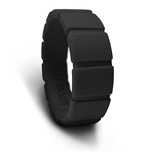AZCOO - Silicone Wedding Ring Band Men Women 3D Edge Flat Square Shape Engraved Love Design USA