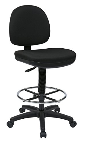Office Star Drafting Chair with Lumbar Support, Black, 19.75 to 27.75-Inch Adjustable Height by Work Smart