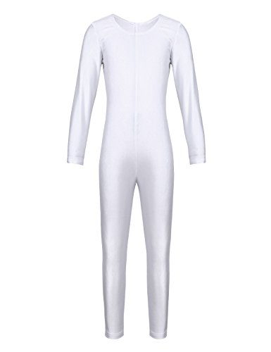 iEFiEL Girls Long Sleeve Ballet Dance Gymnastics Kids Catsuit Bodysuits Unitard Dancewear Costume White Crew Neck (Zentai Costumes Us)