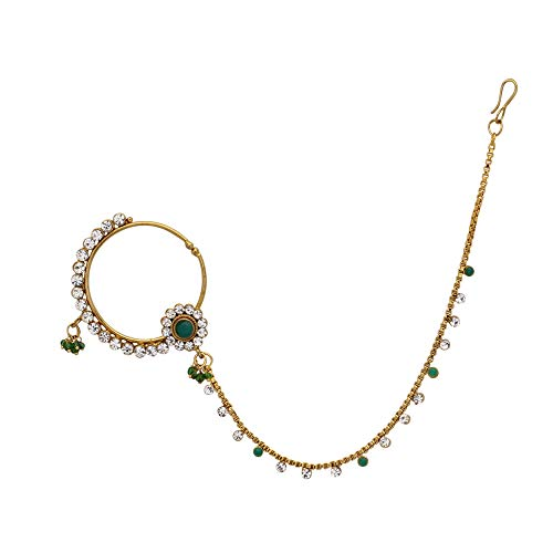 Jwellmart Fashion Gold Polish Wedding Bridal CZ Stone Nose Ring for Women and Girls (Green) by Jwellmart