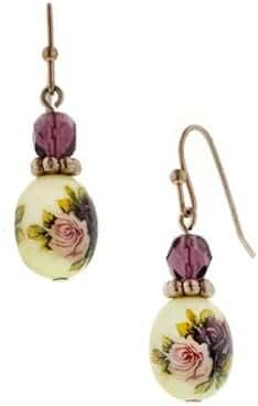 1928 Jewelry Manor House Oval Bead Drop Earrings