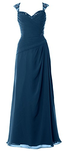 Bride Cap Sleeves of Dress Women Party Back Formal MACloth Open Mother Gown Teal Long Y5Agnwq