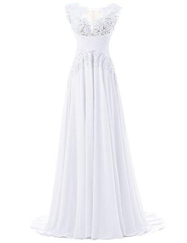 DRESSTELLS Long Prom Dress Chiffon Bridal Wedding Dress Bridesmaid Dress White Size14