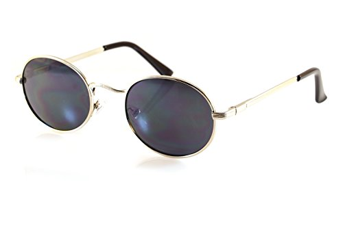 FBL John Lennon Retro Oval Sunglasses Mirrored/ Smoke Lens Spring Hinge A088 (Silver/ Black - Oval Mirrored Sunglasses