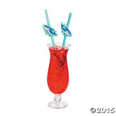 Shark Plastic Bendable Drinking Straws - 12 (Plastic Sharks)