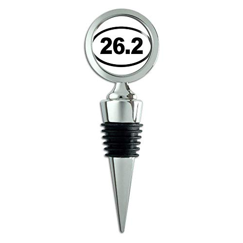 Marathon Runner Oval 26.2 (WHITE Oval 26.2 Marathon Miles (run runner running) Metal Wine Bottle Stopper)