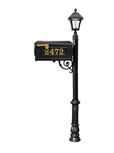 Mailbox w/Post Ornate Base & Solar Lamp, with Vinyl Numbers, Black ()